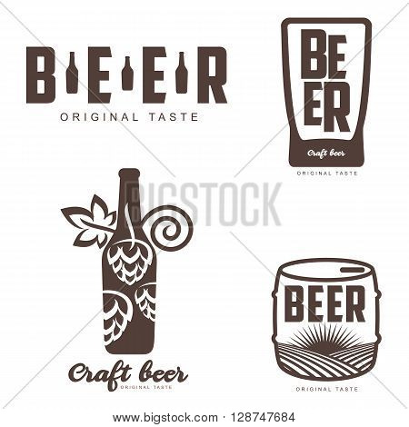 Vector set of vintage craft beer alcohol ale brewery bar shop emblems and label. Branding Identity Corporate logo design template. Isolated on a white background
