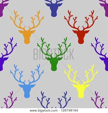 Deer head. Hand drawn vector stock illustration. Seamless background pattern