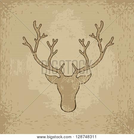 Deer head. Hand drawn vector stock illustration