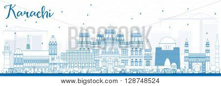 Outline Karachi Skyline with Blue Landmarks. Business Travel and Tourism Concept with Historic Buildings. Image for Presentation Banner Placard and Web Site.