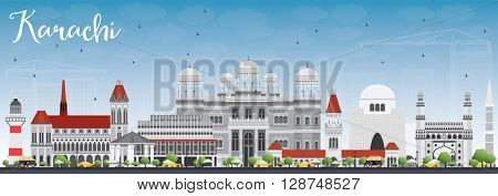 Karachi Skyline with Gray Landmarks and Blue Sky. Business Travel and Tourism Concept with Historic Buildings. Image for Presentation Banner Placard and Web Site.