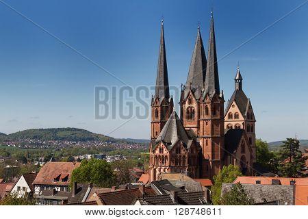 Facade of the gothic Marienkirche of Gelnhausen, Hesse, Germany
