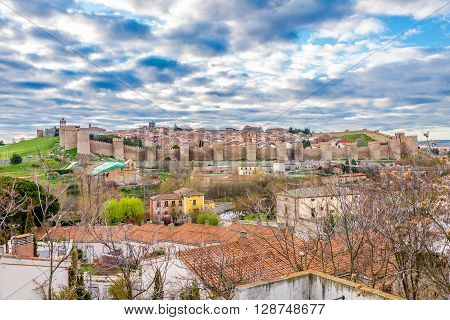 ÁVILA,SPAIN - APRIL 23,2016 - View at the Town walls of Ávila. Ávila is a Spanish town located in the autonomous community of Castile and León .