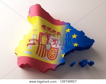 Flag map of Spain and European Union. 3d rendering.