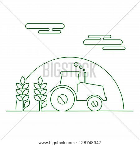 Thin line flat design of rural landscape. Thin line abstract countryside with tractor sun and corn. Vector illustration concept of rural life. rural landscape in thin lines