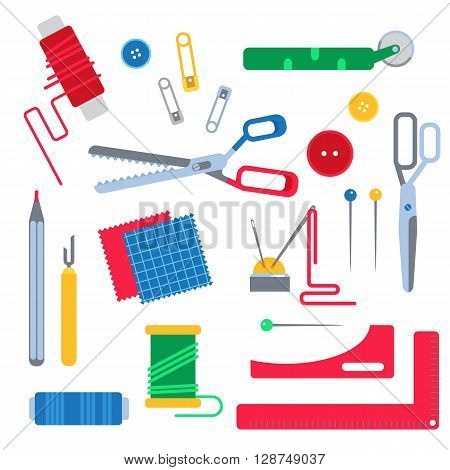 Set of sewing tools for seamstress . Vector illustration of tools for sewing. Sewing tool: scissors and thread pins and needles buttons and pattern. Flat design isolated sewing tools