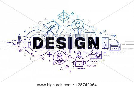 Typographic Technology Design. Modern Lettering. Set of application development, web site coding, information and mobile technologies vector icons and elements.