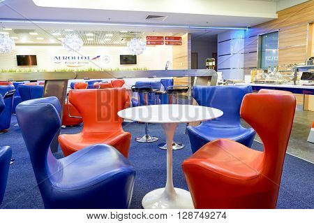 SAINT PETERSBURG, RUSSIA - AUGUST 04, 2015: interior of Aeroflot lounge. OJSC Aeroflot - Russian Airlines, commonly known as Aeroflot, is the flag carrier and largest airline of the Russian Federation