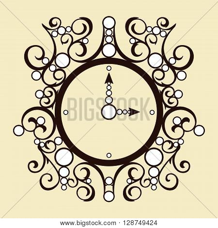 Vector old illustration vintage clock on beige background