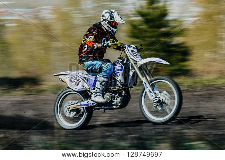 Miasskoe Russia - May 02 2016: rider on a motorcycle rides on race track during Cup of Urals motocross