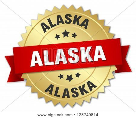 Alaska round golden badge with red ribbon