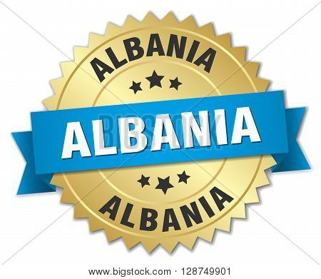 Albania round golden badge with blue ribbon