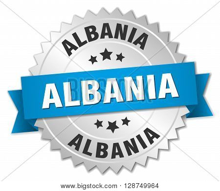 Albania round silver badge with blue ribbon