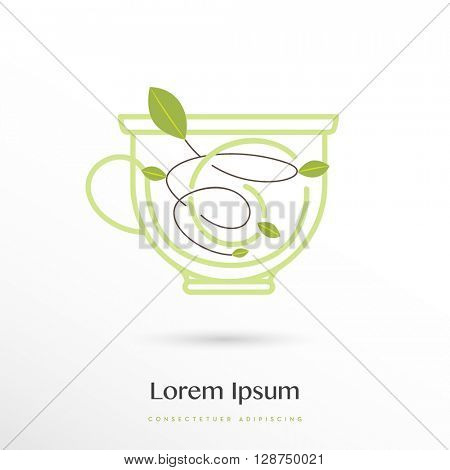 unique design of a cup with leaf and whirl elements inside , vector logo / icon