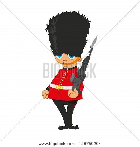Illustration of a British Royal Guard in red uniform