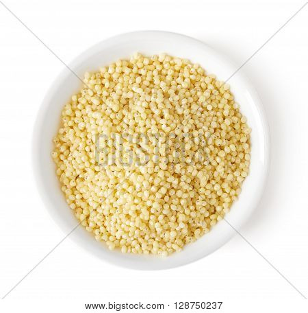 Bowl Of Millet Groats On White Background, Top View
