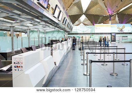 SAINT PETERSBURG, RUSSIA - AUGUST 04, 2015: Pulkovo Airport interior. Pulkovo Airport is an international airport serving Saint Petersburg, Russia