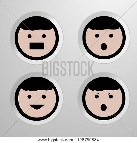 Four emotion of face. Set of four icons - vector illustration.
