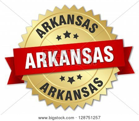 Arkansas round golden badge with red ribbon