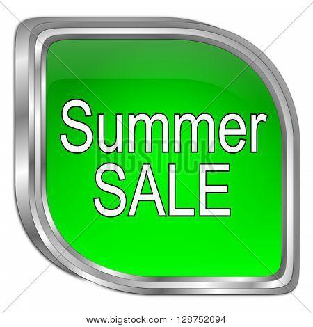 green Summer Sale Button - 3D illustration