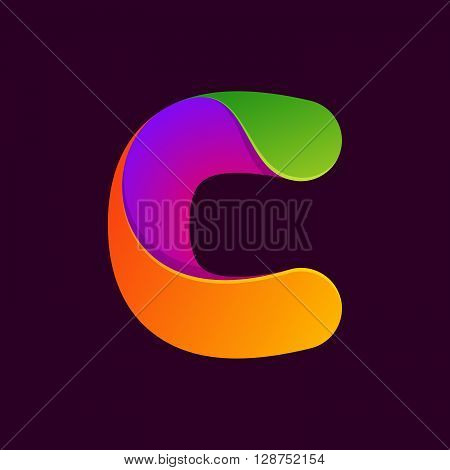 C Letter One Line Colorful Logo.