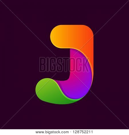 J Letter One Line Colorful Logo.