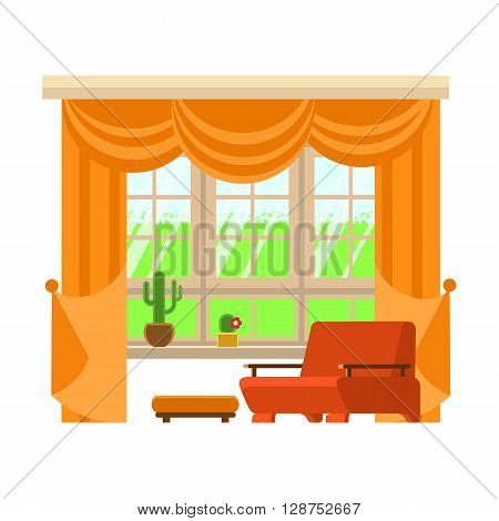 Flat vector illustration interior element window. Window living room interior isolated. Interior design window living room and furniture white background. High quality detailed interior design.