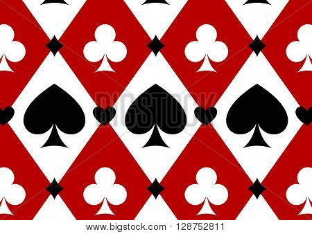 Seamless casino gambling poker background with red, black, white cards symbols