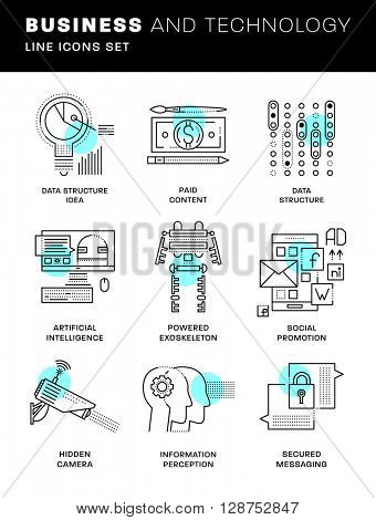 Thin Line Icons Set. Simple Linear Pictogram Collection for Web Design. Stroke Logo Concept Pack. Future Technology, Artificial Intelligent, Augmented Reality and Exoskeleton. Vector Illustration.