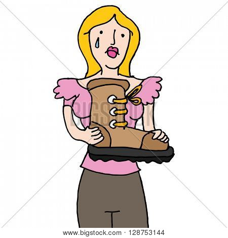 An image of a girlfriend getting the boot.