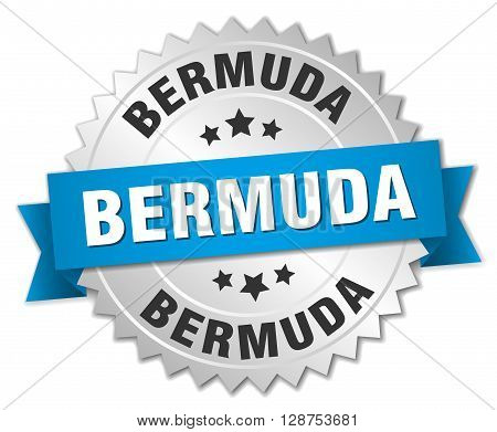 Bermuda round silver badge with blue ribbon