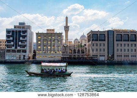 DUBAI UAE-JANUARY 31 2016: Traditional Abra ferries at the creek