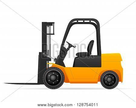 Forklift on a white background. Vector illustration.