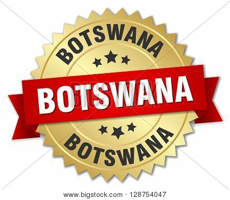 Botswana round golden badge with red ribbon