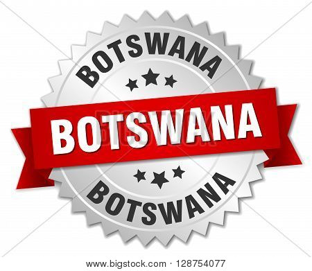 Botswana round silver badge with red ribbon