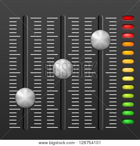 Sound mixing console on black background. Vector illustration.
