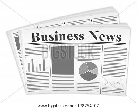 Newspaper on a white background. Vector illustration.