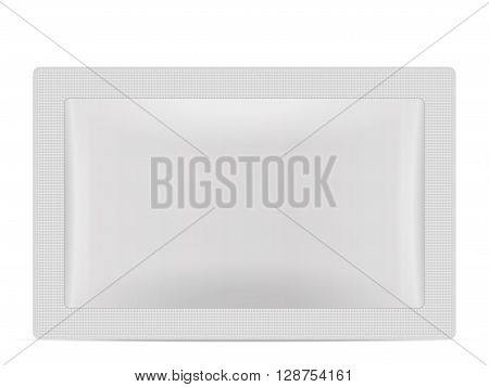 Sachet packaging on a white background. Vector illustration.