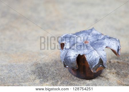 Widened hollow point bullet with a copper jacket after hitting a target