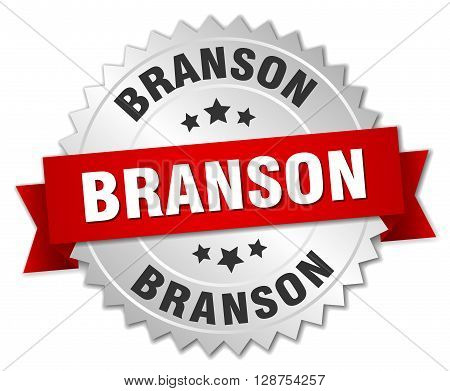 Branson round silver badge with red ribbon