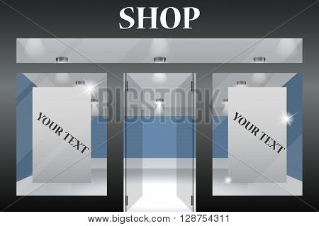 Shop Front. Exterior horizontal windows empty for your store product presentation or design. Eps10 vector.Part of set