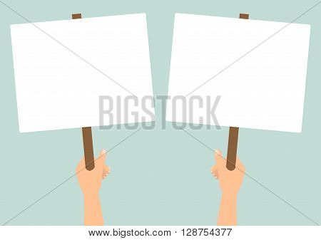 Human hands hold a blank protest signs on green background. Vector flat design.