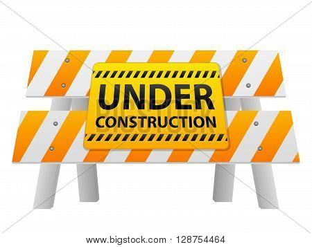 Under construction sign on road barrier. Vector illustration.