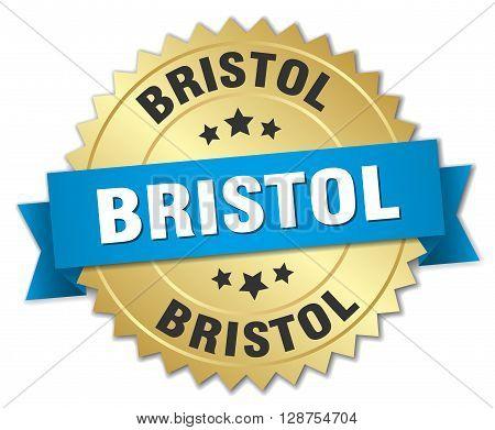 Bristol round golden badge with blue ribbon