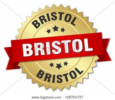 Bristol round golden badge with red ribbon