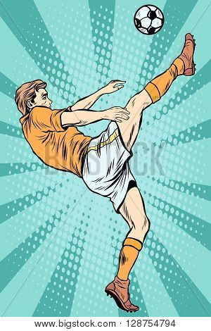 Football soccer player kick the ball pop art retro style. The football championship. Summer sports games. Retro football vector
