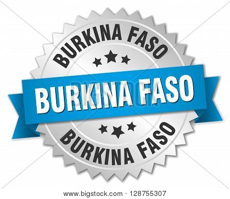 Burkina Faso round silver badge with blue ribbon