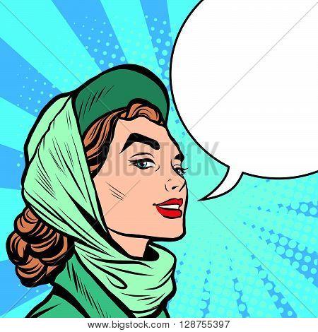 Face stylish retro women pop art retro style. the woman says comic bubble