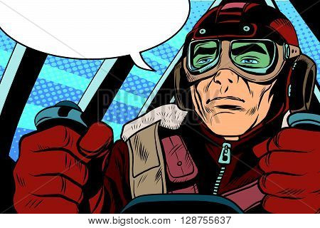retro military Aviator pilot pop art retro style. The first or the second world war. Retro army vector