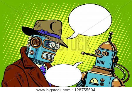 Dad and son robots pop art retro style. Artificial intelligence. Science fiction